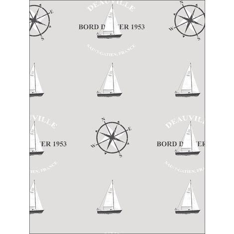 Galerie Grey Nautical Wallpaper