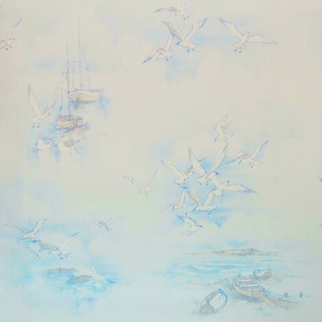 Galerie Nautical Boats Wallpaper Blue White Seagulls Birds Global Fusion