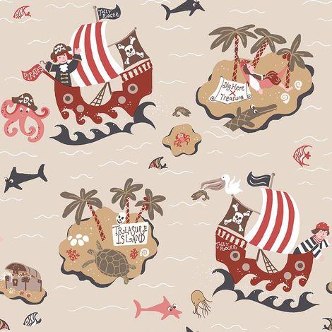 Galerie Pirates Beige Wallpaper