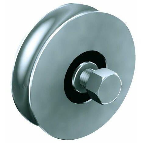 Galet acier 90° s-rail diam 120 500 kgs gorge ronde 12020120r21