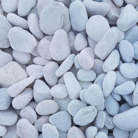 Galet de marbre blanc roulé calibre 12-25 sac de 15kg