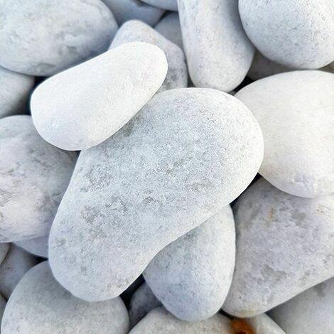 Galet de marbre blanc roulé calibre 40-60 sac de 15kg