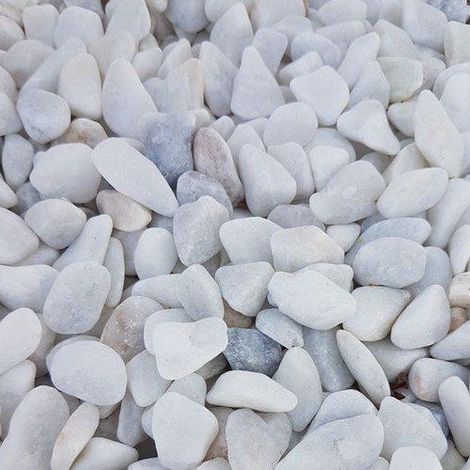 Galet de marbre blanc roulé calibre 8-12 sac de 15kg