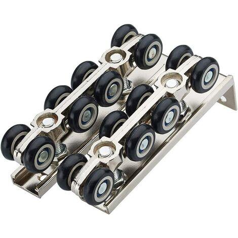 Galet de porte à suspendre - Poulie de suspension pour porte coulissante en acier inoxydable - Fermeture amortie - 8 roues de suspension - Pour porte coulissante en bois