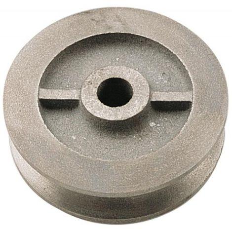 Galet en fonte à gorge carrée diamètre 50 mm pour porte coulissante sur fer plat