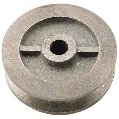 Galet en fonte à gorge carrée diamètre 80 mm pour porte coulissante sur fer plat