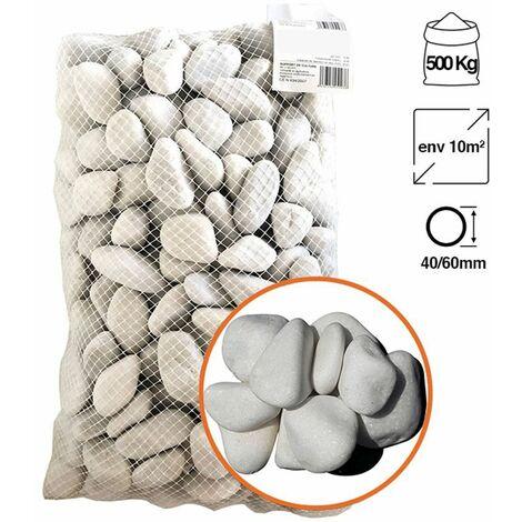 Galet marbre blanc pur Big Bag 500 Kg - Calibre: 24-40mm