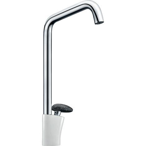 Galet mitigeur lavabo bec haut blanc chrome poignée façon pierre - Autres Couleurs
