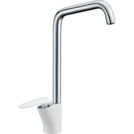 Galet mitigeur lavabo bec haut blanc et chrome - Blanc