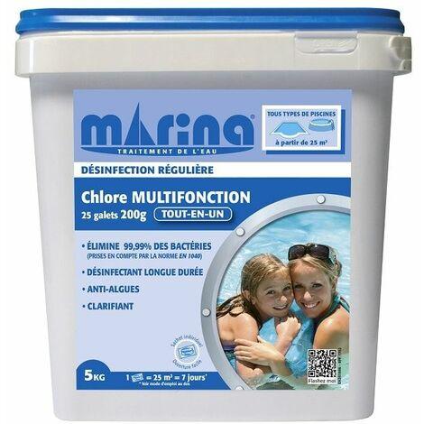 Galets 200g de chlore Marina pour piscine > 25m3 - 5 kg