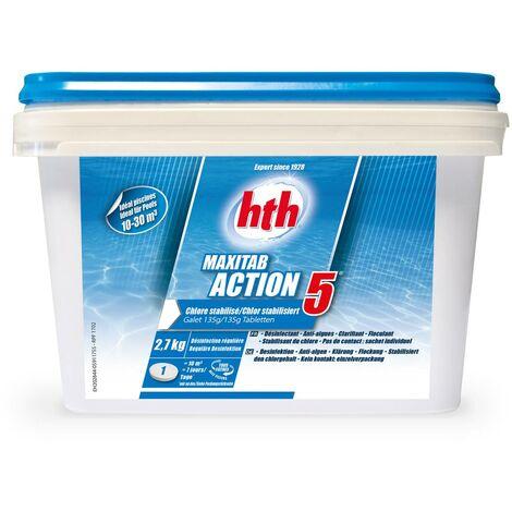 Galets à dissolution lente 135g action 5 HTH pour piscine, chlore stabilisé