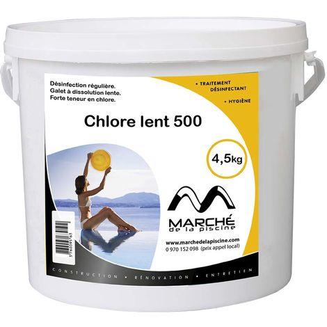 Galets de chlore lent Marchedelapiscine 500g seau de 4,5 kg