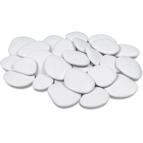 Galets décoratifs en Plastique recyclé - Blanc Large (5 à 8 cm) - Blanc