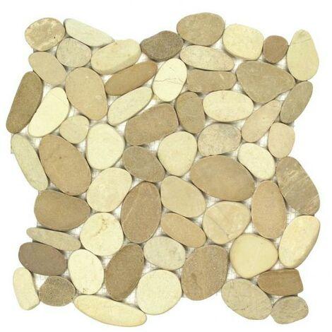 Galets scies mix blanc/beige 30x30 cm