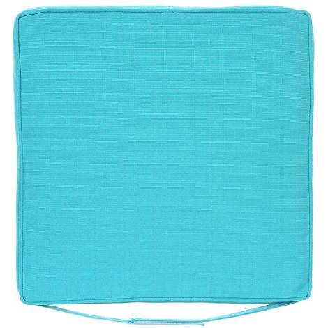 Galette de chaise d'extérieur à scratch Korai - 40 x 40 cm - Bleu lagon - Bleu