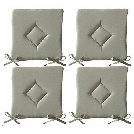 Galette de chaise - Lot de 4 - 40 x 40 cm - Beige mastic - Livraison gratuite