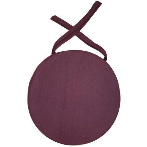 Galette de chaise ronde en coton 40 cm Aubergine
