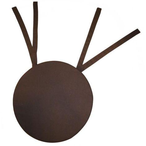 Galette de chaise ronde en coton 40 cm Chocolat