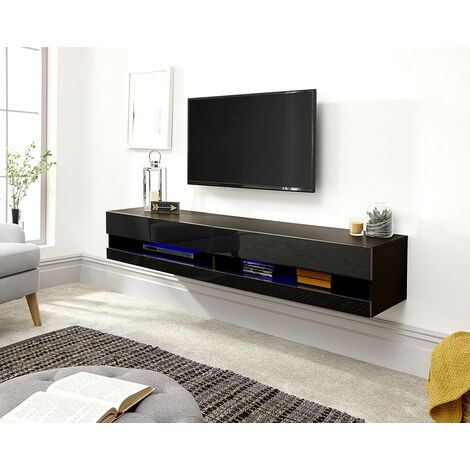 """main image of """"Galicia Wall Mounted Gloss TV Unit with LED - 180cm Black"""""""