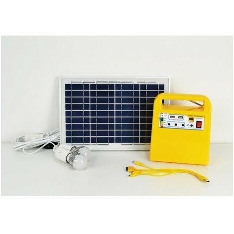 GALIX Kit d'éclairage a énergie solaire - Avec fonction radio, lecteur MP3 et chargeur port USB - Lampe Ø 4,8 cm
