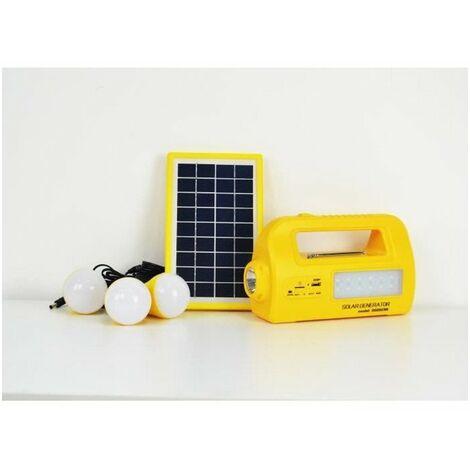 GALIX Kit d'éclairage a énergie solaire - Avec fonction radio, lecteur MP3 et chargeur port USB - Lampe Ø 6 cm