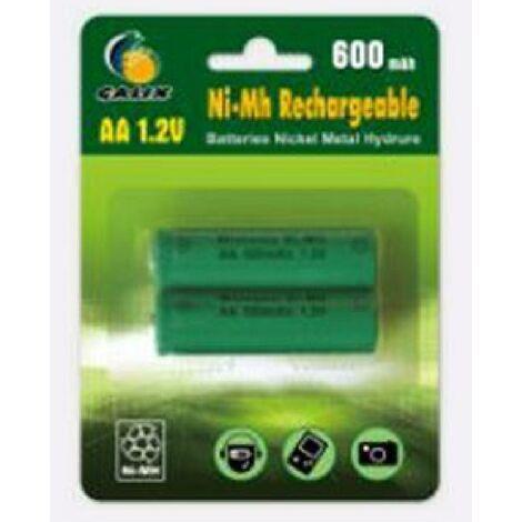 "main image of ""GALIX Lot de 2 piles rechargeables Ni-Mh LR06/AA - 1.2 Volts - 600 mAh"""