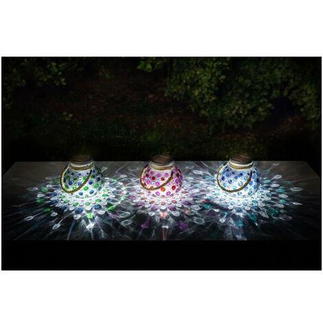 GALIX Lot de 3 décorations de table a énergie solaire - 4 Lm - 3 coloris : vert, rouge et bleu - H 22-13,8 x Ø 15 cm
