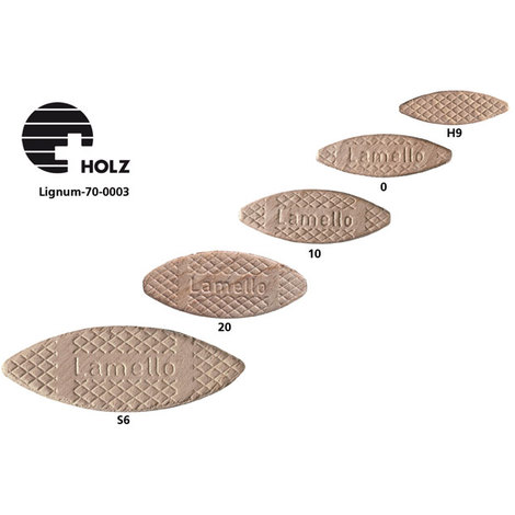 Galletas de madera para ensamblar Arimar No. 0, 45x15x4 mm (1000 unidades) Lamello