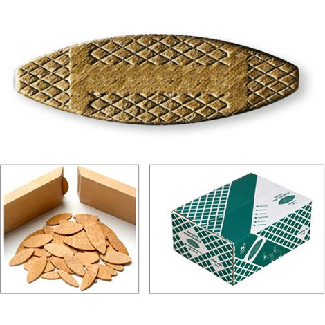 Galletas de madera para ensamblar Arimar No. 10, 55x19x4 mm (1000 unidades) Lamello