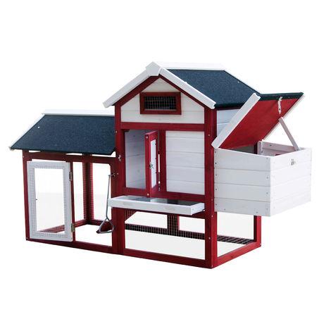 Gallinero con nidos y corral Caseta con suelo extraíble tejado plegable Casa gallinas Rojo y blanco