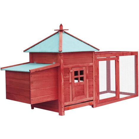 Gallinero con ponedero madera maciza de abeto rojo 193x68x104cm