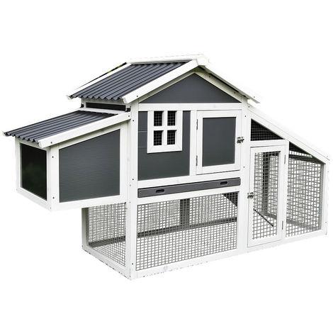Gallinero corral para gallinas granja Blanco / Gris corral para ves corral de libre acceso exterior para jardín jaula recinto amplio refugio