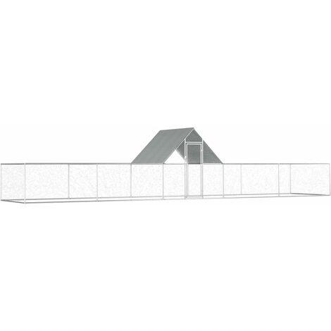 Gallinero de acero galvanizado 10x2x2 m - Plateado