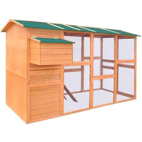 Gallinero de madera 295x163x170 cm - Marrón