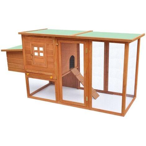 Gallinero de madera con 1 jaula para huevos - Marrón