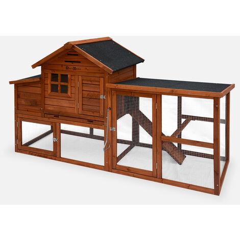 Gallinero de madera Europa, 4 gallinas, jaula para gallinas de corral - Fabricado en madera de abeto y malla de alambre de acero galvanizado.