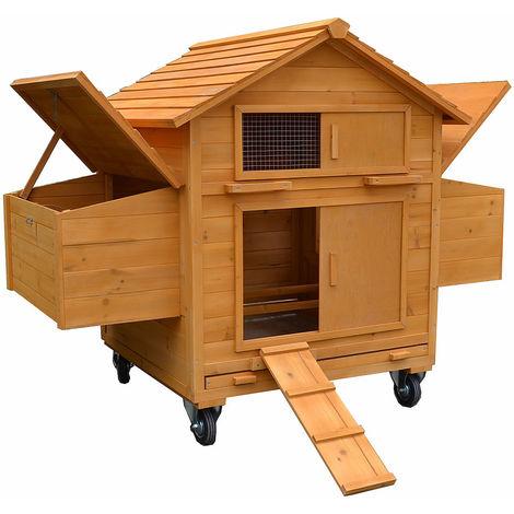 Gallinero móvil incl. 2 cajas de nidos y rampa corral de Madera para gallinas granja corral para ves casa para gallinas cara para pájaros