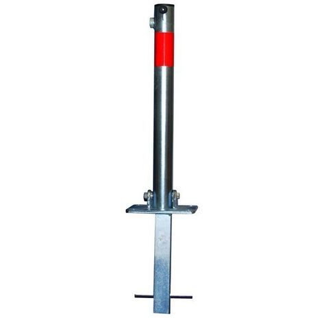 Galvanised Fold Down Parking Post, Spigot Base & Reflective Red Band (001-0102 K/D, 001-0092 K/A)