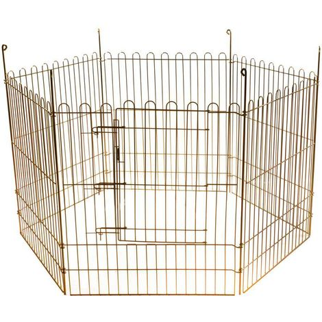 Galvanized metal fence for dogs and cats consisting of 6 removable panels