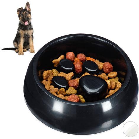 Gamelle Anti glouton, chien manger lentement bol croquette chat, aliment digestion, noir