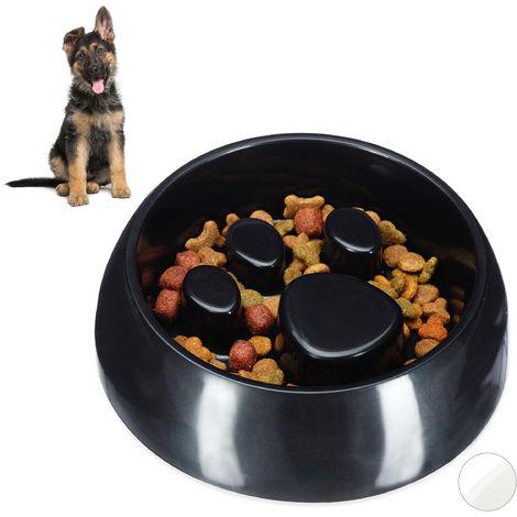 Gamelle Anti glouton, chien manger lentement bol croquette eau chat, aliment digestion lente, noir
