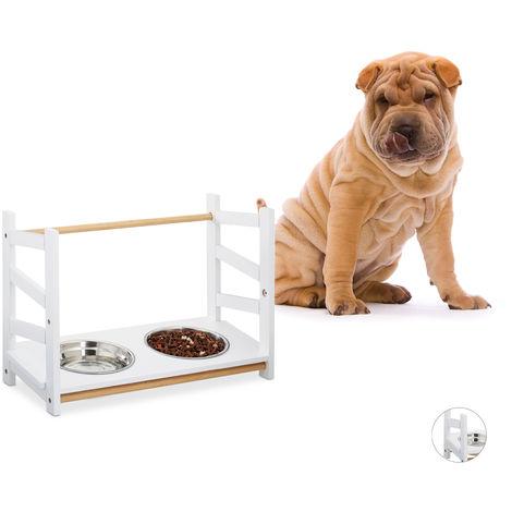 Gamelle chiens, chat, Double gamelle en inox, 2x 1000 ml, 39 cm, bambou, Distributeur, hauteur réglable, blanc