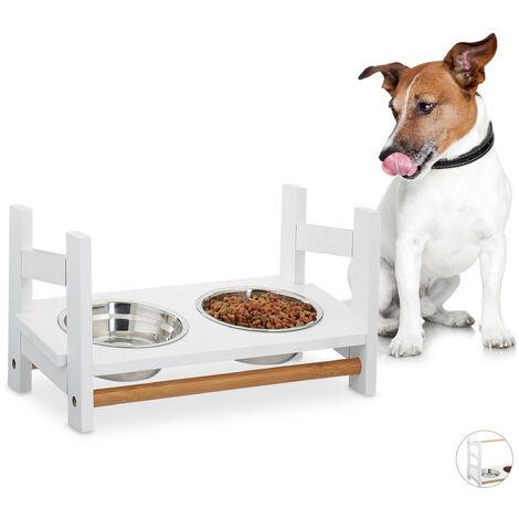 Gamelle chiens, chat, Double gamelle en inox, 2x 500 ml, 20 cm, bambou, Distributeur, hauteur réglable, blanc