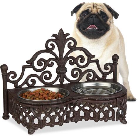Gamelle chiens style antique double écuelle antiquités fonte fer forgé 2x bols inox 0,3 litre, marron