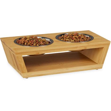 gamelle pour animaux, bol à nourriture en bambou, acier inoxydable, adapté pour lave-vaisselle, nature-argenté