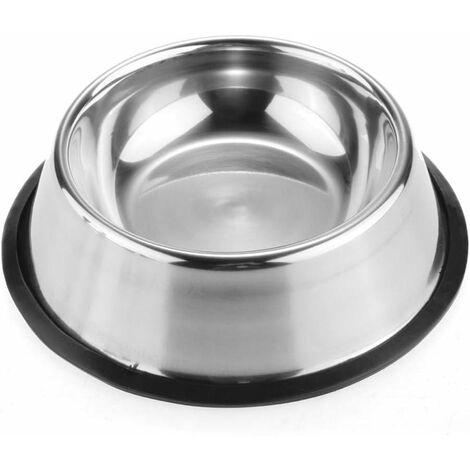 Gamelle pour chien en acier inoxydable avec fond antidérapant