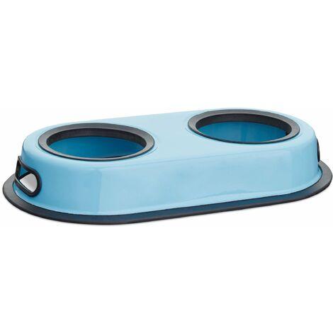 Gamelle pour double pour chien et chat amovible bleu inox - Bleu