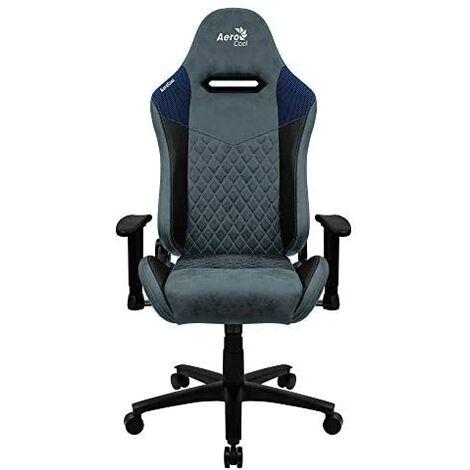 Gamer chair aerocool duke stone blue aerosuede pour un confort maximal cuir synthétique de première qualité, motifs en fibre de carbone et bascules ajustables en diamant
