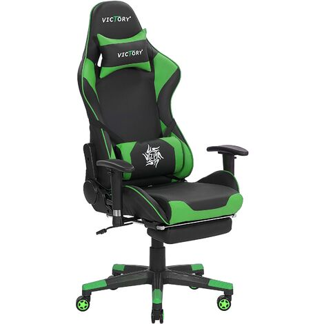 Gaming Chair Black with Green VICTORY