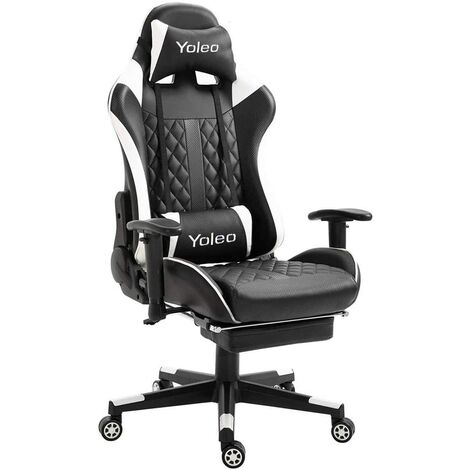 Gaming Chair Ergonomic Home Office Desk Chairs Adjustable High Back Swivel PU Leather Racing Chair with Lumbar Support and Headrest (White, with footrest)
